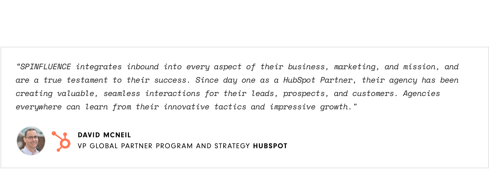 Testimonial from HubSpot VP