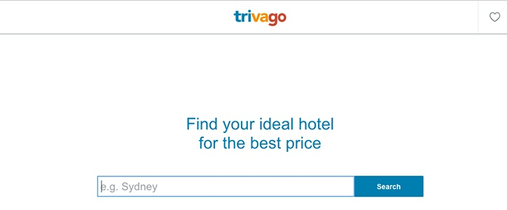 Trivago homepage